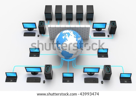 3D illustration of computer global network, protected behind a firewall, isolated in white background