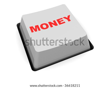 3d illustration of computer key with money sign