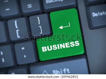 3d illustration of computer keyboard enter button with text business - stock photo