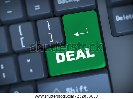 3d illustration of computer keyboard enter button with word deal - stock photo