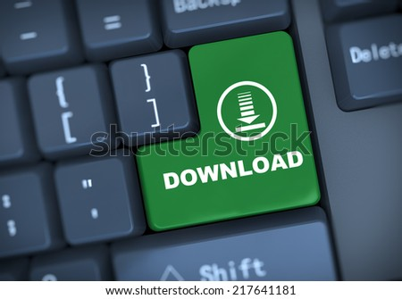 3d illustration of computer keyboard enter button with word download - stock photo