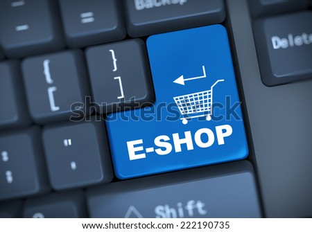 3d illustration of computer keyboard enter button with word e-shop - stock photo