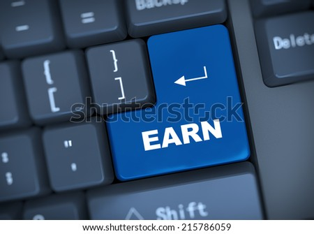 3d illustration of computer keyboard enter button with word earn - stock photo