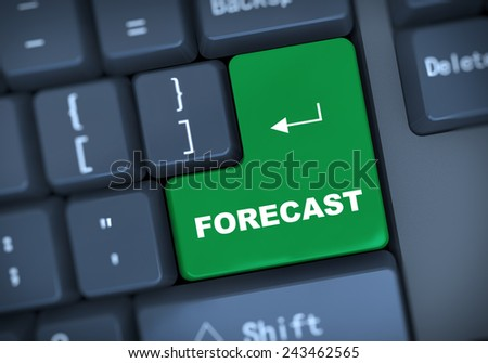 3d illustration of computer keyboard enter button with word forecast - stock photo