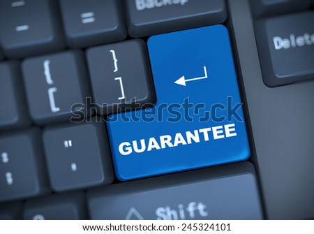 3d illustration of computer keyboard enter button with word guarantee - stock photo