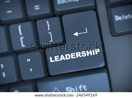 3d illustration of computer keyboard enter button with word  leadership - stock photo