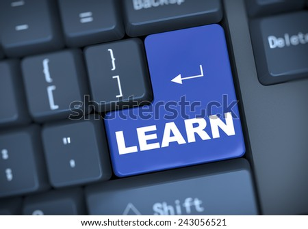 3d illustration of computer keyboard enter button with word learn - stock photo