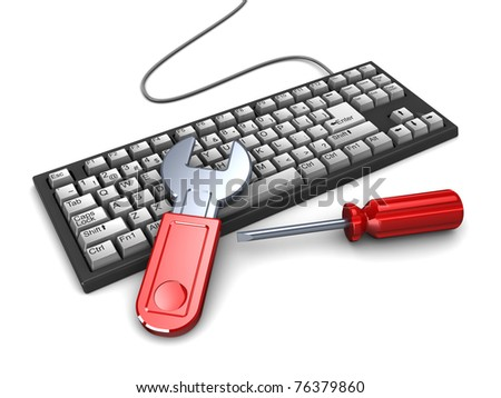 3d illustration of computer keyboard with hand tools, computer repair concept - stock photo