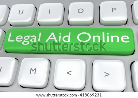 "3D illustration of computer keyboard with the print ""Legal Aid Online"" on a green button. Online concept. - stock photo"