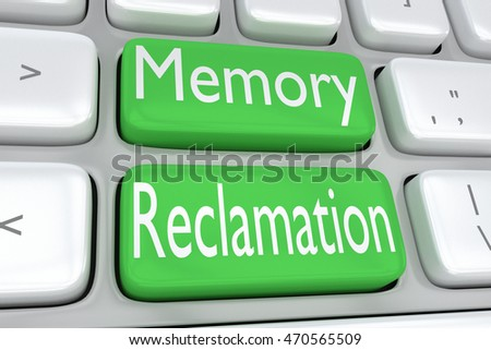 "3D illustration of computer keyboard with the print ""Memory Reclamation"" on two adjacent green buttons"