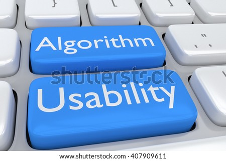 """3D illustration of computer keyboard with the script """"Algorithm Usability"""" on two adjacent pale blue buttons. Design concept. - stock photo"""