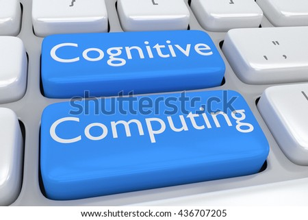 "3D illustration of computer keyboard with the script ""Cognitive Computing"" on two adjacent pale blue buttons. Computing concept."