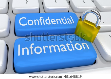 "3D illustration of computer keyboard with the script ""Confidential Information"" on two adjacent pale blue buttons, allong with a lock. - stock photo"