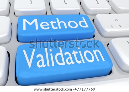 "3D illustration of computer keyboard with the script ""Method Validation"" on two adjacent pale blue buttons"