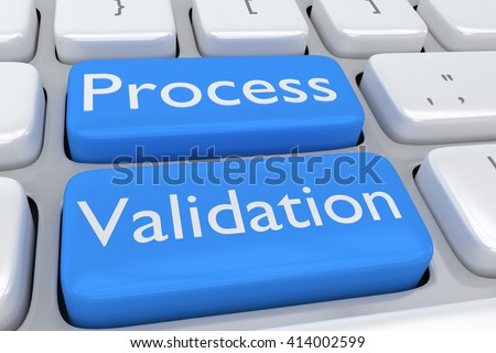 """3D illustration of computer keyboard with the script """"Process Validation"""" on two adjacent pale blue buttons. Design concept. - stock photo"""