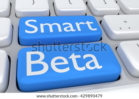 "3D illustration of computer keyboard with the script ""Smart Beta"" on two adjacent pale blue buttons. Technology concept. - stock photo"