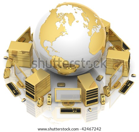 3D illustration of computer media network around the Earth globe