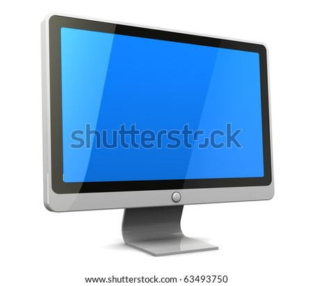 3d illustration of computer monitor with blank blue screen - stock photo
