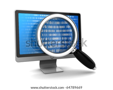 3d illustration of computer monitor with magnify glass, data searching concept - stock photo