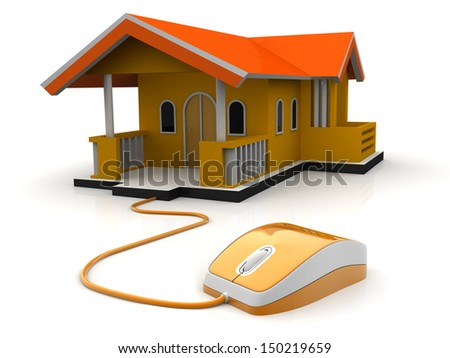 3d illustration of computer mouse connected to house, home control concept, real-estate concept  - stock photo