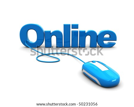 3d illustration of computer mouse connected to text 'online', internet concept - stock photo