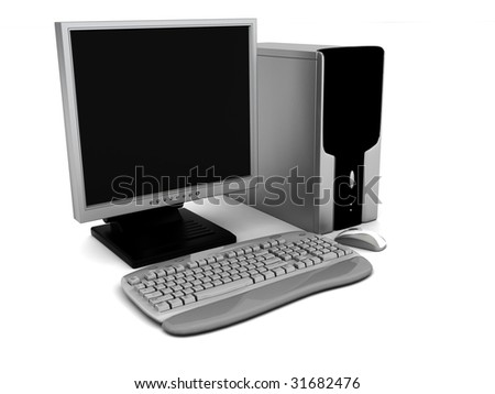 3d illustration of computer over white background