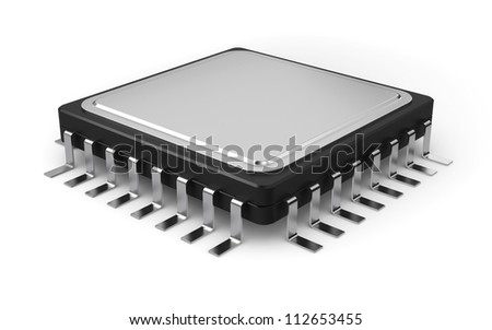 3d illustration of computer processor isolated on white background - stock photo