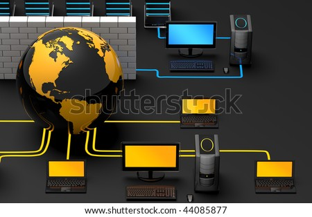 3D illustration of computer server network, protected behind a firewall from the world wide web and its threats - stock photo