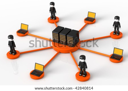 3D illustration of computer servers, laptops and Minitoy people connected in a hub-like orange network,