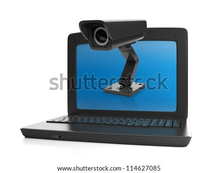 3d illustration of computer technologies. Installing CCTV, laptop and camera