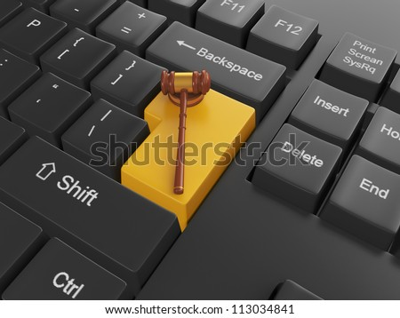 3d illustration of computer technologies. Keyboard with legal as - stock photo