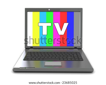 3d illustration of computer television - stock photo