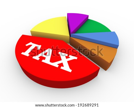 3d illustration of concept of heavy taxation pie chart presentation - stock photo