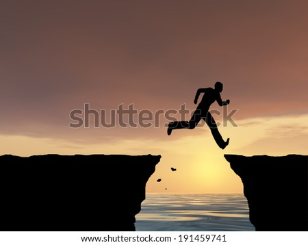3D illustration of concept or conceptual young man, businessman silhouette jump happy from cliff over water gap sunset sunrise sky background for freedom, nature, mountain success free joy health risk