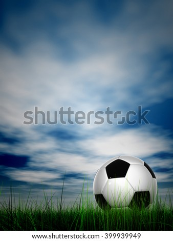 3D illustration of conceptual soccer ball in fresh green summer or spring field grass with sky background, metaphor to sport, goal, competition, play, team, fun, stadium, meadow, activity soccerball - stock photo