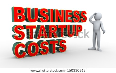 3d illustration of confused person about business startup cost.  3d rendering of human people character.