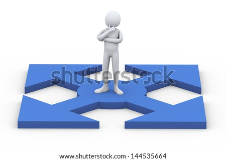 3d illustration of confused person thinking which way to choose.  3d rendering of human people character.
