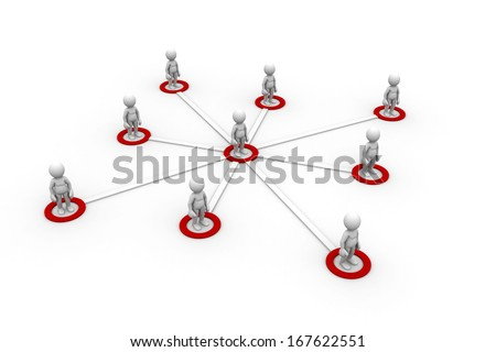 3D illustration of connected peoples. Isolated on white background. - stock photo