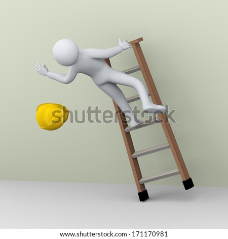 3d illustration of construction worker falling on the job. 3d rendering of human people character ladder accident. - stock photo