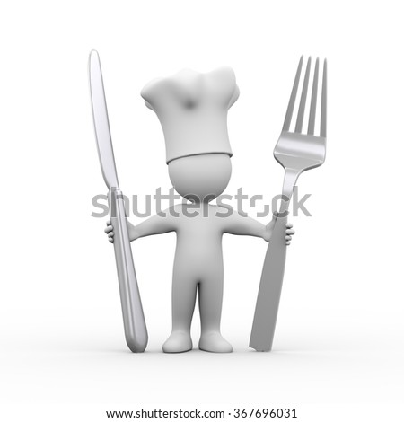 3d illustration of cook man holding fork and knife.  3d rendering of human people character. - stock photo