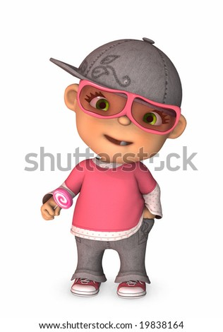 3d illustration of cool baby charachter with sunglasses hat and lollipop - stock photo