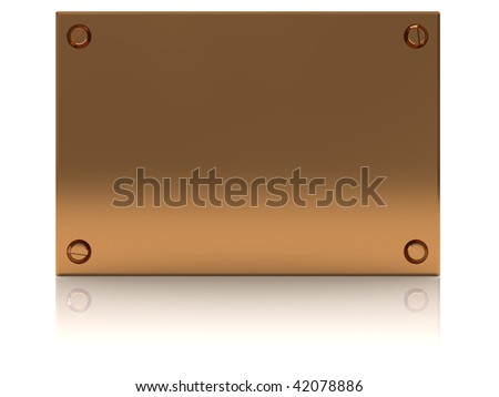 3d illustration of copper plate with reflection at wet floor
