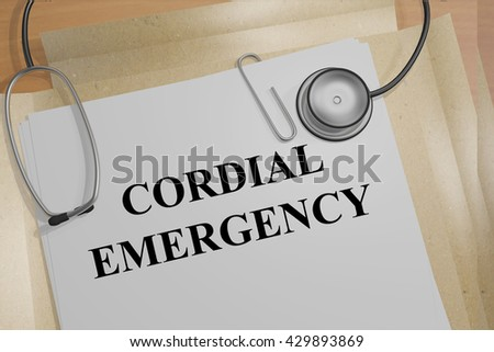 """3D illustration of """"CORDIAL EMERGENCY"""" title on medical documents. Medical concept. - stock photo"""