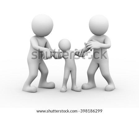 3d illustration of couple fighting for child custody. family problem, people conflict and dispute.