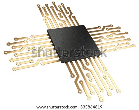 3d illustration of cpu chip central processor unit with contacts for connection. Isolated on white background - stock photo