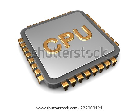 3d illustration of cpu chip over white background - stock photo