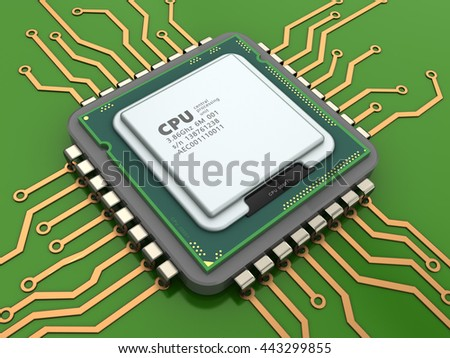3d illustration of CPU over green background