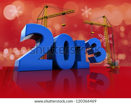 3d illustration of crane building 2013 text, over red background - stock photo