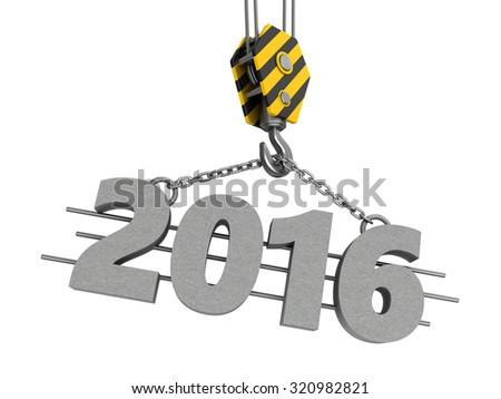3d illustration of crane hook and 2016 year sign - stock photo