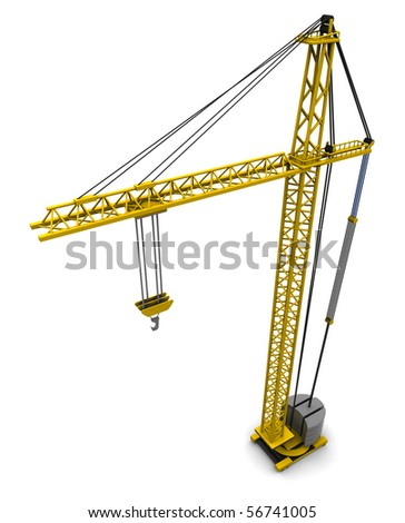 3d illustration of crane isolated over white background - stock photo